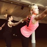 Iris Mareike Steen ist hochkonzentriert bei dem Training mit ihrem Tanzpartner Christian Polanc.