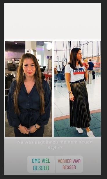 """""""Na was sagt ihr zu meinem neuen Style"""", fragt Sarah Lombardi auf Instagram ihre Fans. Sie postet einen Vorher-Nachher-Vergleich, der sie links mit langen, und rechts mit den neuen, kurzen Haaren zeigt. Die Meinung der Fans steht fest; rund 80 Prozent bevorzugen ihren neuen Look."""