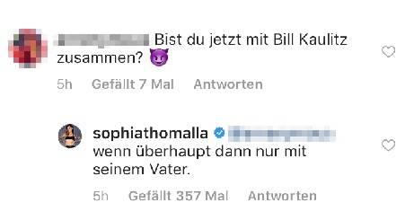 Sophia Thomalla kontert bei Instagram einem Fan-Kommentar.