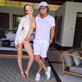 Topmodel Gigi Hadid und ihr Vater Mohamed Hadid posen für ihre Instagram-Fans in sommerlichen Outfits.