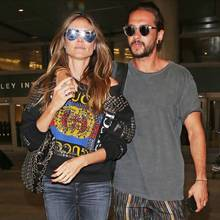 """12. April 2018  Heidi Klum und Tom Kaulitz wirken sehr vertraut, als sieam Flughafen """"LAX"""" in Los Angeles gesichtet werden."""
