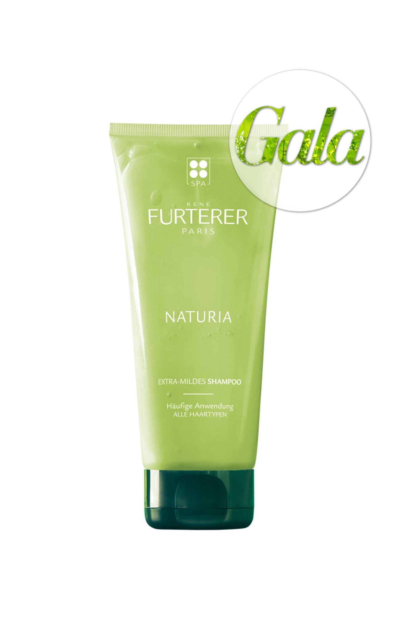 Extra-mild: Das Shampoo Naturia von Rene Furterer verwöhnt unsere Kopfhaut mit Basilikum-, Minz- und Kümmelöl. Ca. 16 Euro.