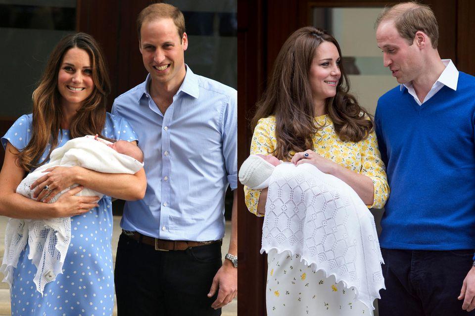 """In 2013 wird Prinz George in ein weißes Strickdeckchen von """"GH Hurt & Son"""" gewickelt. Zwei Jahre später dann sein Schwesterchen, Prinzessin Charlotte."""