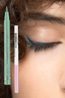 "1. ""Eyeliner Pen Longlasting Nr. 5"" von Essence, ca. 3 Euro; 2. ""Master Drama Lightliner Glimmer Light Pink"" von Maybelline, ca. 6 Euro"