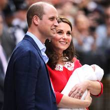 Prinz Williams und Kate Middleton mit ihrem Baby Nr. 3