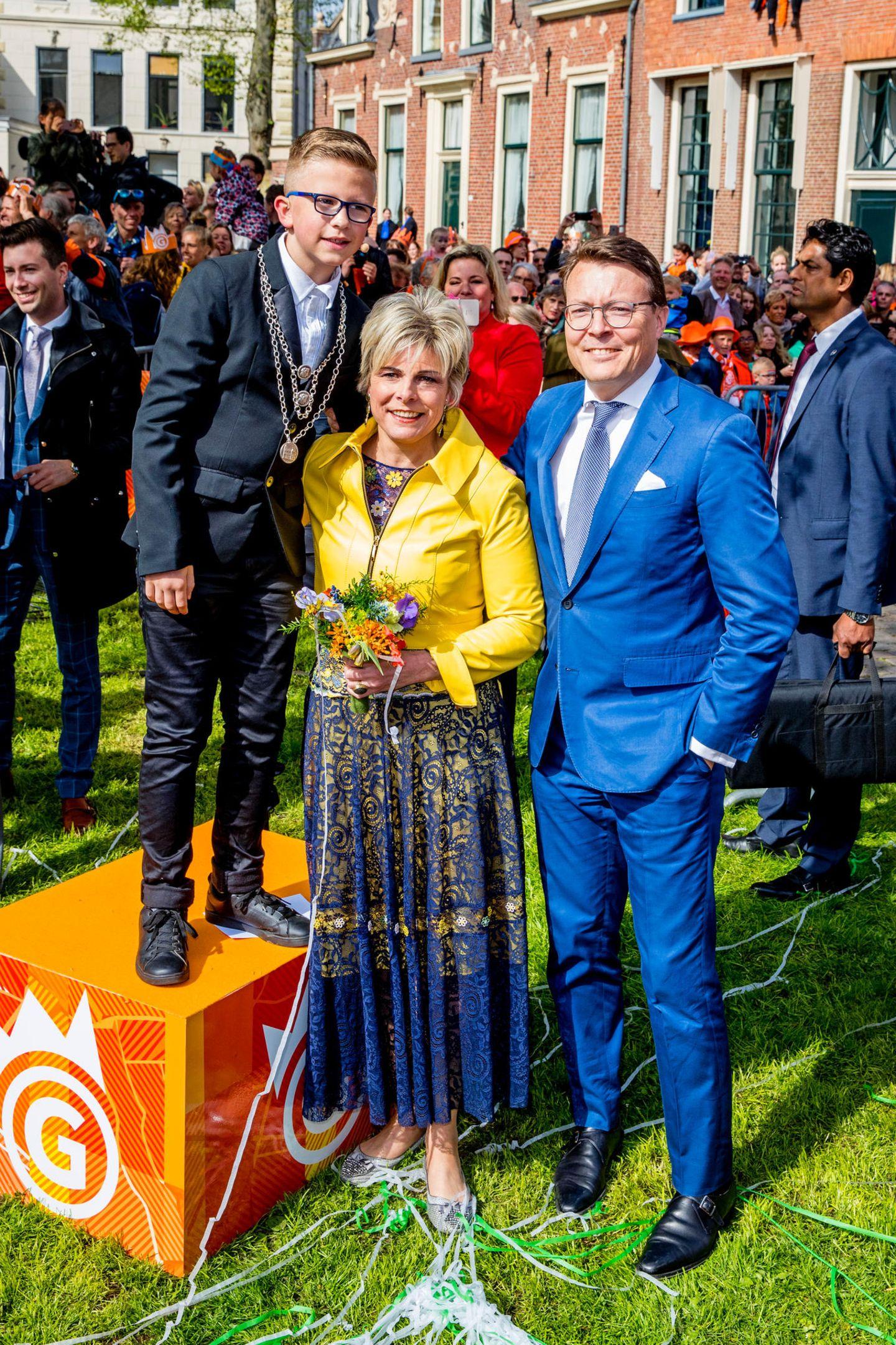 27. April 2018  Auch Prinzessin Laurentien, Prinz Constantijn, Bruder von Willem-Alexander, und ihr Sohn Graf Claus-Casimir besuchen Groningen am Königstag.