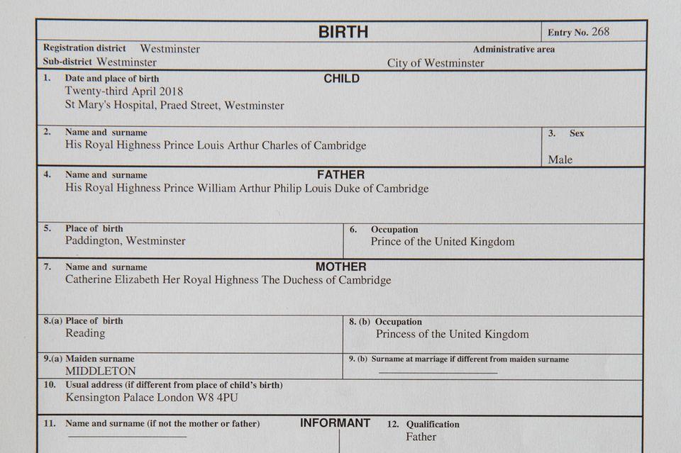 """Die """"moderne"""" Geburtsurkunde von Prinz Louis."""