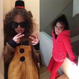 Die Zwillinge Moroccan und Monroe lieben es, sich zu verkleiden. Heute sind es bunte Plüschanzüge, die es den Geschwistern angetan haben.
