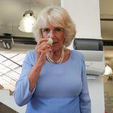 Beim Besuch einer französischen Parfümfabrik, muss natürlich kräftig geschnüffelt werden.Herzogin Camillariecht an verschiedenen Düften - hier an einemEiaus Seife.