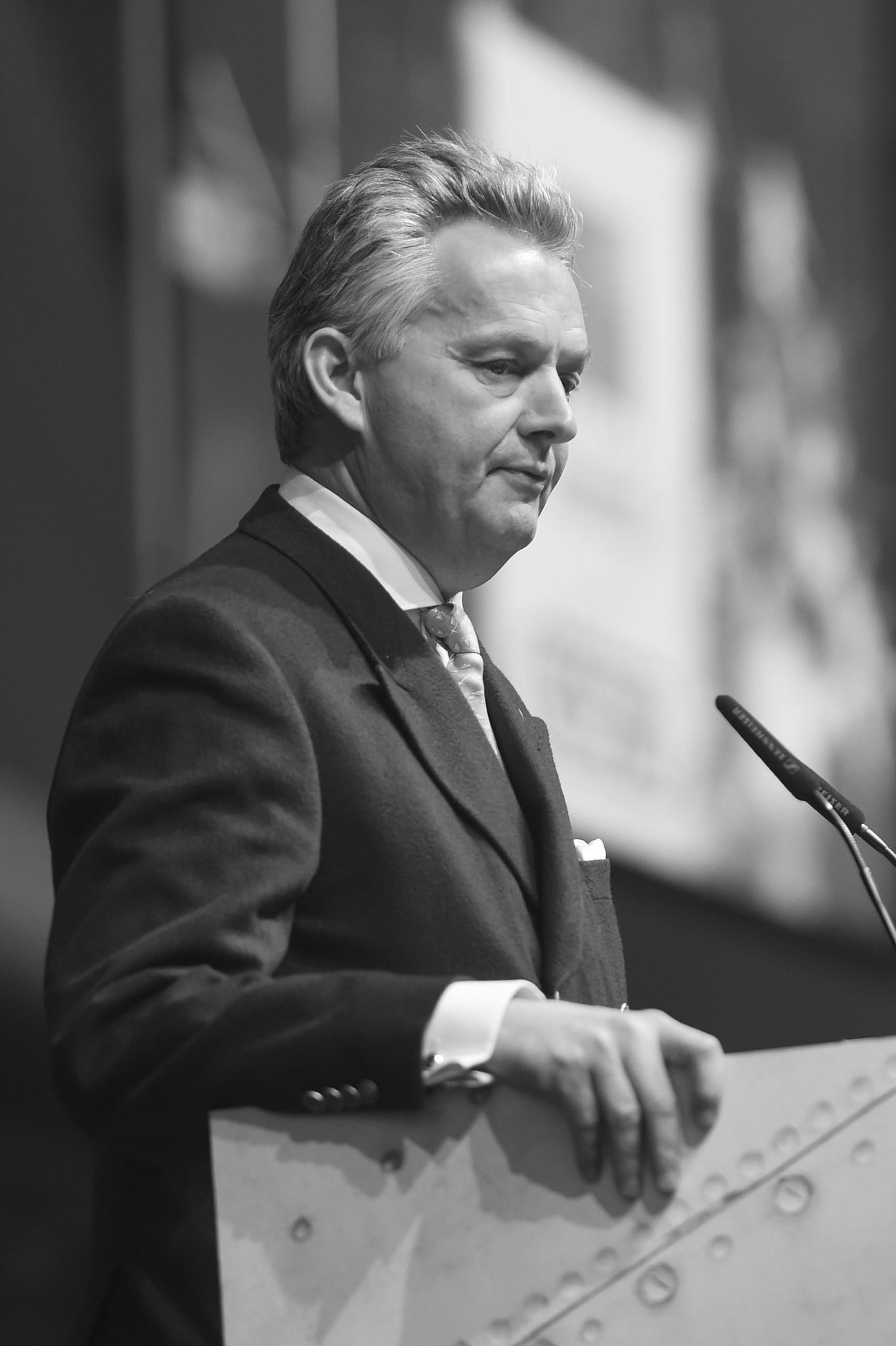 Friedrich Herzog von Württemberg (†), hier bei einer Rede im April 2017