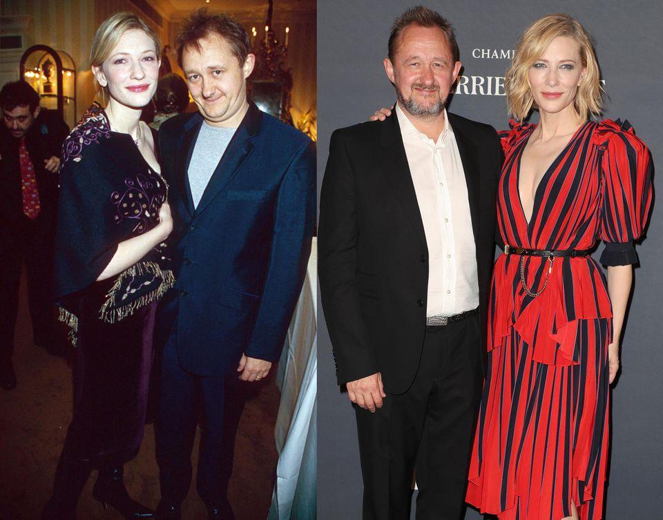 """Cate Blanchett und Andrew Upton  Nach nur 21 Tagen Beziehung folgte der Heiratsantrag: 1996 haben sie sich am Set von """"Heiraten ist Glückssache"""" kennengelernt, 1997 sind sie bereits ein Ehepaar. DieAusnahmedarstellerin und der Dramatiker leben glücklich in der Nähe von Sydney und habendrei Söhne sowie eine Adoptivtochter."""