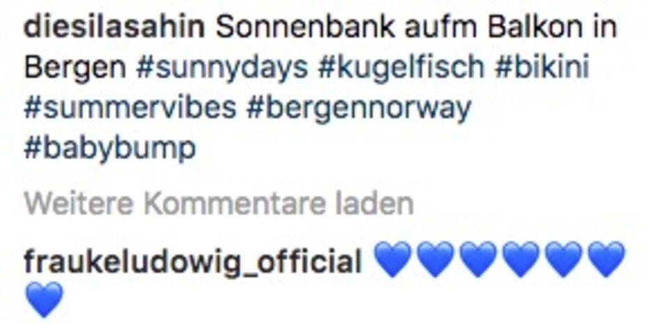 Die Moderatorin Frauke Ludowig kommentierte einen Instagram Beitrag von Sila Sahin. Verrät sie hier das Geschlecht des ungeborenen Kindes?