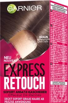 """Schwamm drüber: Perlenextrakt verleiht dem Ansatz ein glänzendes Finish. """"Express Retouch""""von Garnier, 10 ml, ca. 8 Euro. In vier Nuancen erhältlich"""
