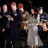 25. April 2018  An der Seite von Prinz Harry besucht Meghan Markle die Gedenkfeier anlässlich des Anzac Days inWestminster Abbey.