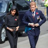 25. April 2018  Zu der Gedenkfeier in Westminster Abbey hat das verlobte Paar die Outfits gewechselt.