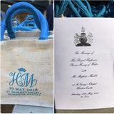 Goodie-Bag an die Gäste der Hochzeit  Für die Gäste der royalen Hochzeit gibt es eine Tasche mit kleinen Souvenirs. Der britische Fotograf James Whatling veröffentlicht auf seinem Twitter-Account die schickeTasche, die mit blauen Henkeln, die mit den Initialen des Brautpaares versehen ist. Darin habe sich unter anderem Wasser und eine riesige Schokoladenmünze von Harry und Meghan befunden.