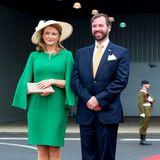 Hier sitzt noch alles:Erbgroßherzogin Stéphanie und Erbgroßherzog Guillaume von Luxemburg erwarten ihre royalen Gäste aus den Niederlanden.