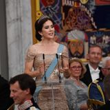 26. Mai 2018  Anlässlich Kronprinz Frederiks 50. Geburtstages hält seine Ehefrau Prinzessin Mary eine rührende Rede. im dänischen Schloss Christiansborg in Kopenhagen findet ein Bankett mit einigen europäischen Royals anlässlich für den Geburtstag des Kronprinzen statt.