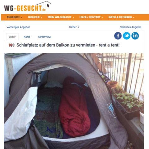 Zelt zu vermieten: Diese WG-Anzeige ging am Wochenende online.