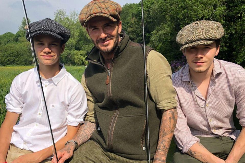 29. Mai 2018  David Beckham verbringt einen entspannten Angeltag am See mit Söhnen Brooklyn und Romeo.