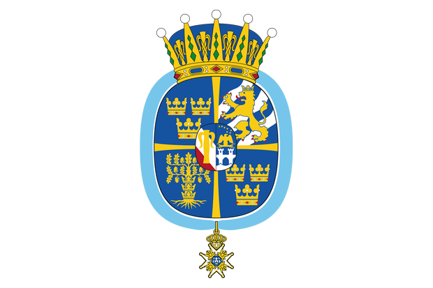 Das Wappen von Prinzessin Adrienne verbindet die Elemente des schwedischen Königshauses mit den personalisierten Bildern der Prinzessin, die auch als Herzogin von Blekinge eingesetzt wurde.