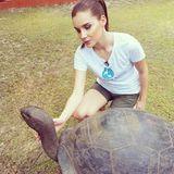 Nathalie Volk macht die Bekanntschaft mit einer Riesenschildkröte.