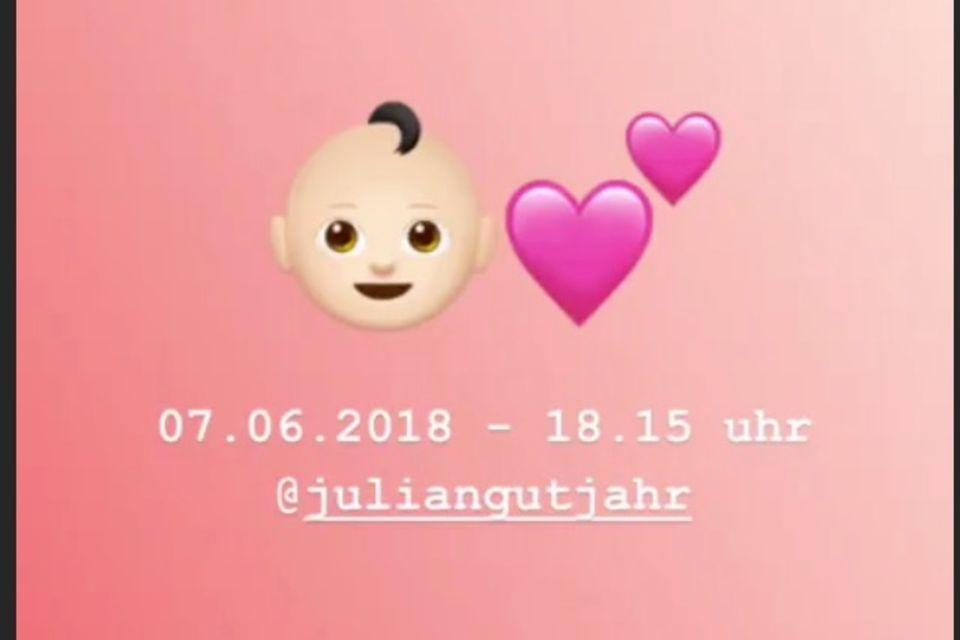 Anna Maria Damm verkündet die Geburt ihrer Tochter per Instagram Story.
