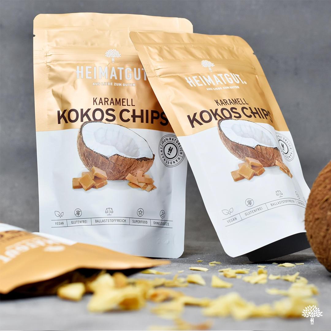 """Gut, vielleicht ist der Karamellüberzug nicht ganz so """"healthy"""" wie das pure Original der Heimatgut Kokoschips, aber einfach so lecker!"""