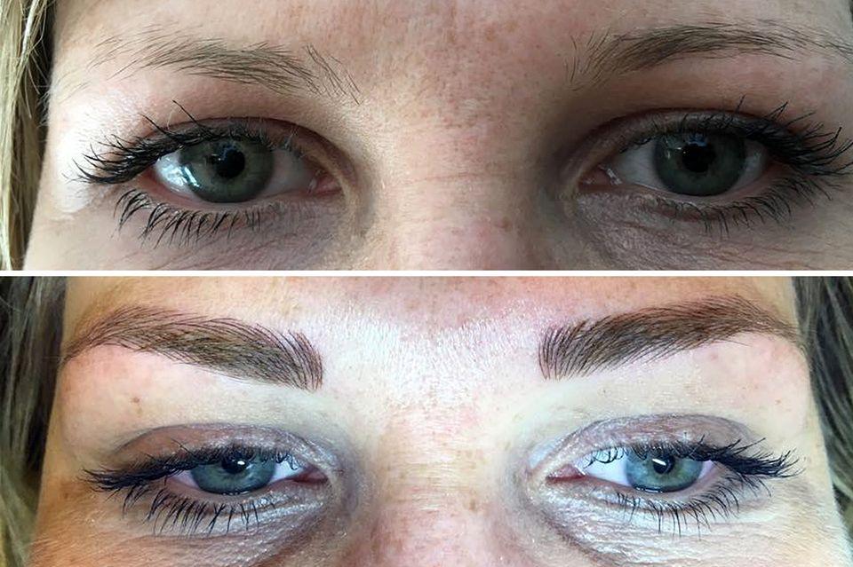Die Augenbrauen vorher oben und nachher unten
