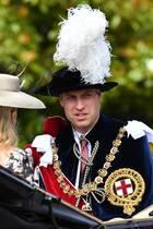 18. Juni 2018   Vor der St. George's Chapel betrachten Ordensmitglieder Prinz Andrew und Prinz Williamdas Geschehen aus der Kutsche aus ...
