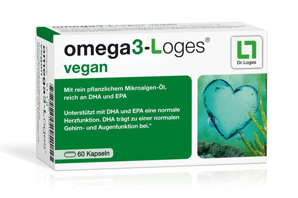 """Schützt Herz, Hirn und Augen """"Omega- 3-Loges vegan""""von Dr. Loges, 60 Stück, ca. 25 Euro"""