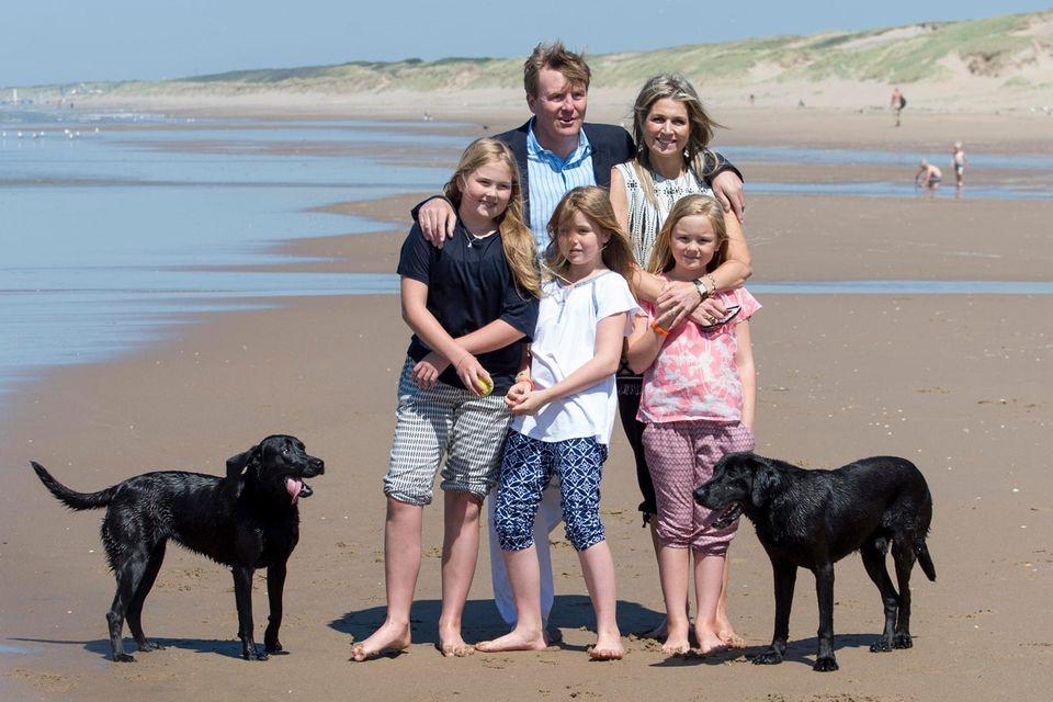 Die königliche Familie 2015 mit Nala und Skipper beim jährlichen Sommer-Fototermin am Strand von Wassenaar im Naturschutzgebiet Meijendel.