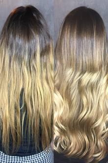 Das Ergebnis von hinten: Die Übergänge sind sanfter geworden. Das Gelb ist aus meinen Haaren verschwunden!