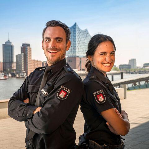 """Marc Barthel (Polizeimeister Kristian """"Kris"""" Freiberg) und Aybi Era (Polizeikommissarin Pinar Aslan) sind das neue Team in """"Notruf Hafenkante"""""""