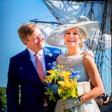 28. Juni 2018  Sie zeigen sich gerne verliebt und gut gelaunt: König Willem-Alexander und Königin Máxima der Niederlande besuchen auf ihrer West Friesland Reise den Hafen von Hoorn.
