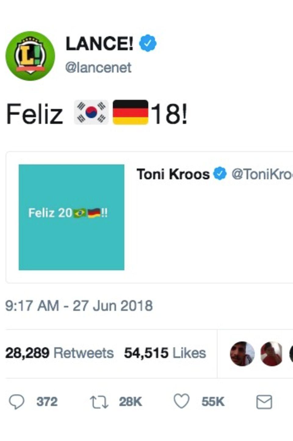 Die Brasilianer reagieren auf einen Tweet von Toni Kroos au dem Jahr 2017