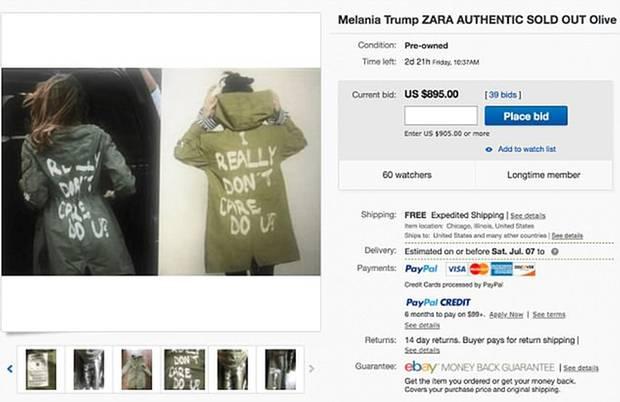 Absurd: Der Preis für den Zara-Parka, den auch Melania Trump trug, steigtin die Höhe