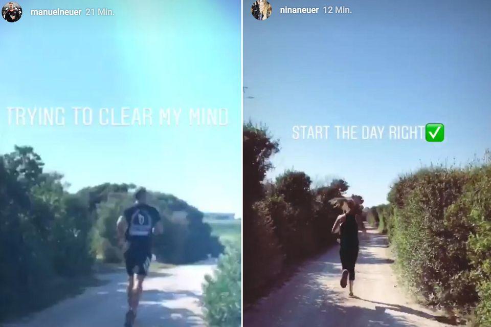 Manuel Neuer läuft sich den Frust über das frühe WM-Aus von der Seele. Ehefrau Nina begleitet ihn