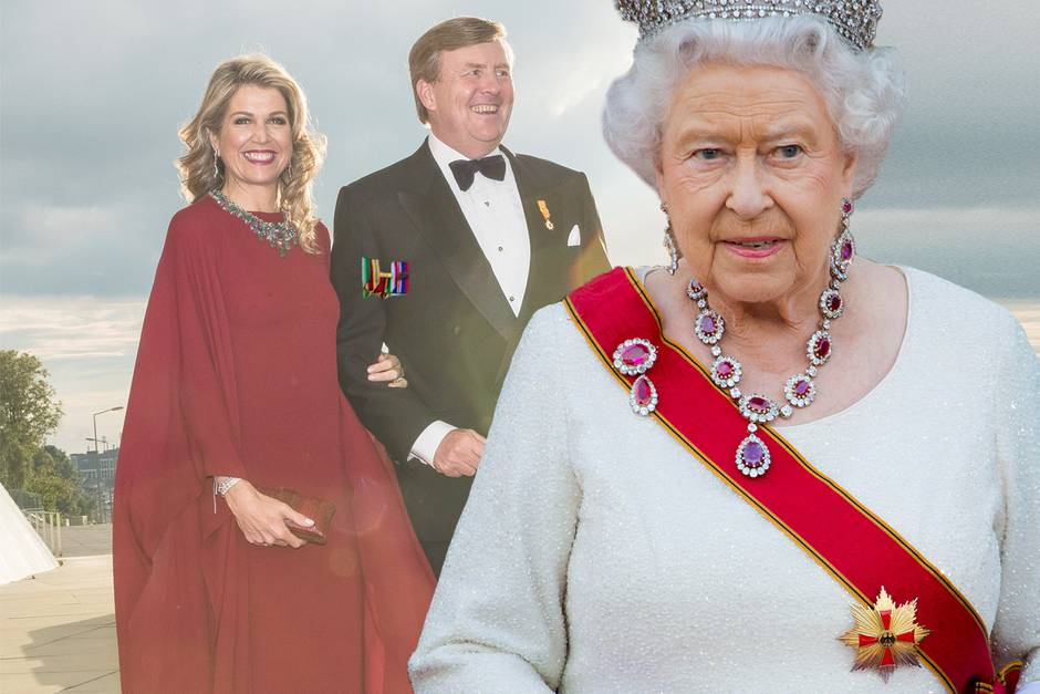 Königin Máxima und König Willem-Alexander besuchen Queen Elizabeth