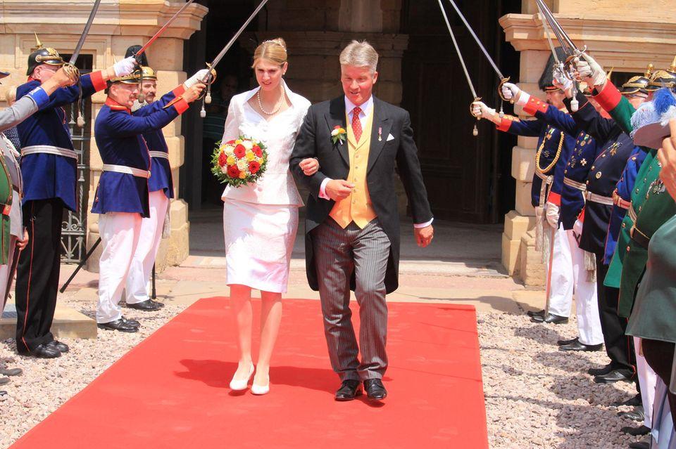 Das frisch gebackene Ehepaar Stephanie Prinzessin von Sachsen-Coburg und Gotha und Jan Stahl
