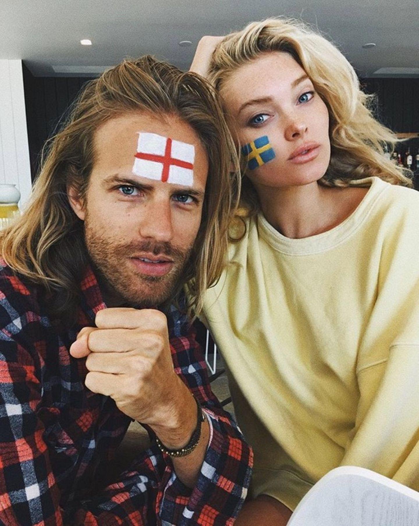 Model Elsa Hosk und ihr Freund Tom Daly feuern unterschiedliche Mannschaften an. Elsa ist natürlich für das Team ihres Heimatlandes Schweden, ihr Freund Tom Daly für England. Der Beziehung scheint es hoffentlich nicht zu schaden.
