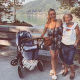 Auf diesem Foto sind gleich drei Generationen vereint. Gemeinsam mit ihrer Mama posiert die schöne Moderatorin und frischgebackene Mama Annemarie Carpendale mit dem Kinderwagen am Tegernsee.