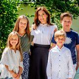 15. Juli 2018  Beim Empfang des Graasten Ringreiterveriens vor Schloss Graasten erscheint die gesamte dänische Kronprinzen Familie.