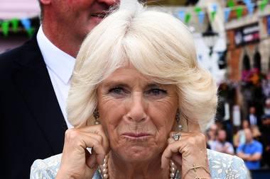 Als die Kanonen abgefeuert werden, ist es der Herzogin zu laut. Camilla muss sich die Ohren zu halten.