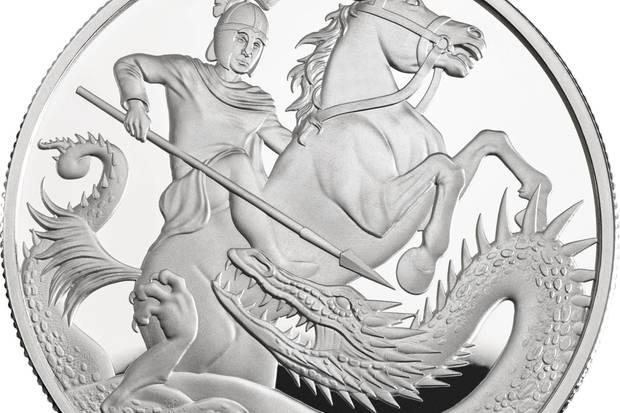 Die Sonder-Edition der Fünf-Pfund-Münze zeigt die Legende des Heiligen Georgs