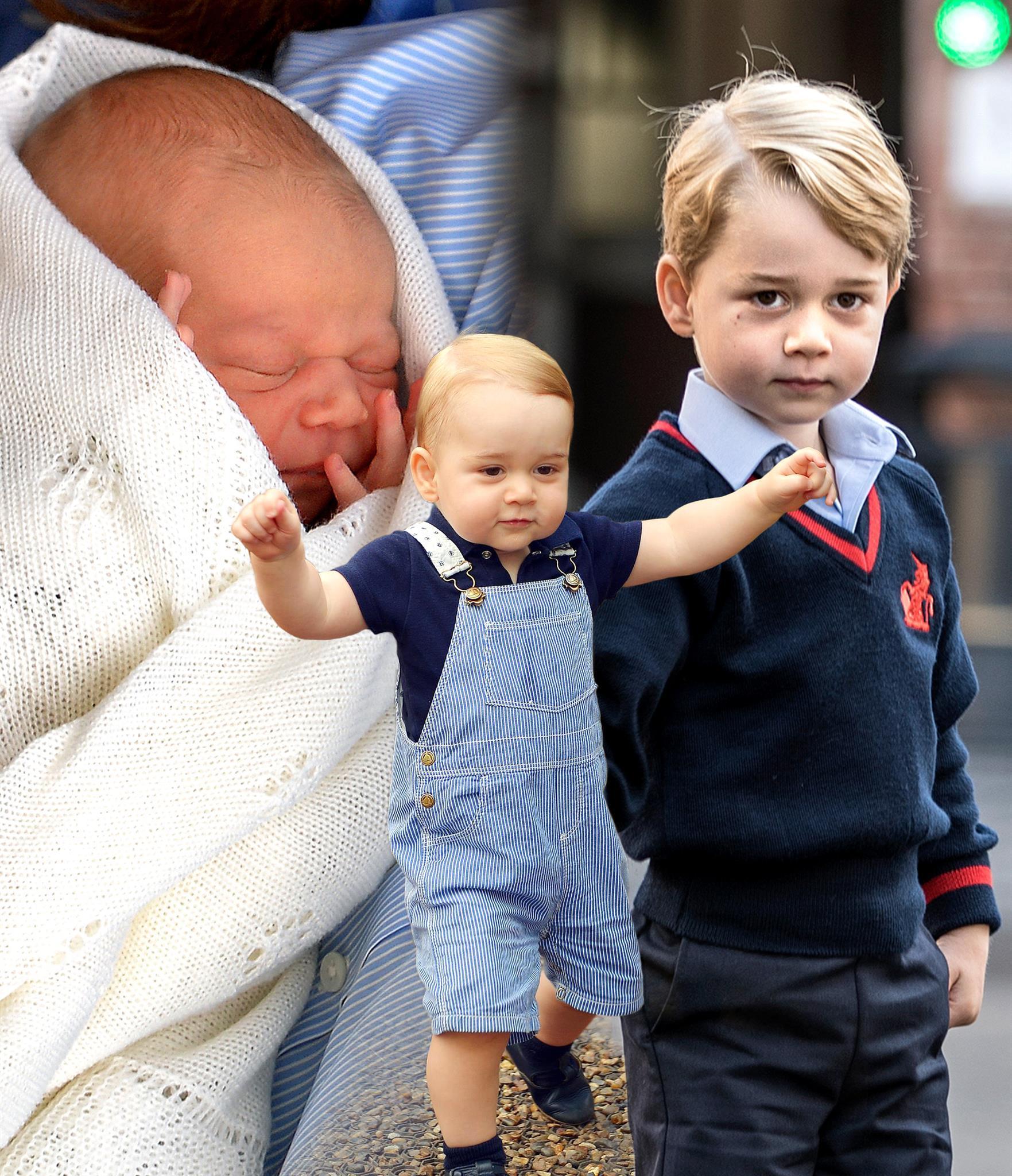 Prinz George am Tag seiner Geburt, im Alter von einem Jahr und als 4-Jähriger
