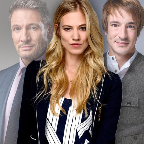 Das Liebesdreieck zwischen Christoph Saalfeld (l., Dieter Bach), Alicia Lindbergh (Mitte, Larissa Marolt) und Viktor Saalfeld (Sebastian Fischer) steht im Fokus der 14. Staffel