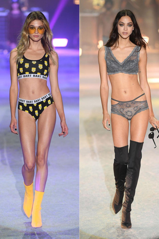 Models wie Sharam Diniz (links) undZhenya Katava (2. v. rechts) sind nicht nur auf Instagram wahre Stars, sondern natürlich auch auf dem Catwalk. Während sie die sinnliche Unterwäsche von Tezenis' Herbst-/Winterkollektion 2018 präsentieren, zeigt ein anderes Girls die Simpson-Pieces aus der Capsule Collection. Zum Abschluss rockt dann Paris Hilton noch einmal den Runway.