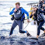 Wenn es zu heiß wird, kann man ja auch in die kühlen Tiefen des Meeres abtauchen: Das Königspaar Willem-Alexander und Máxima macht es vor.