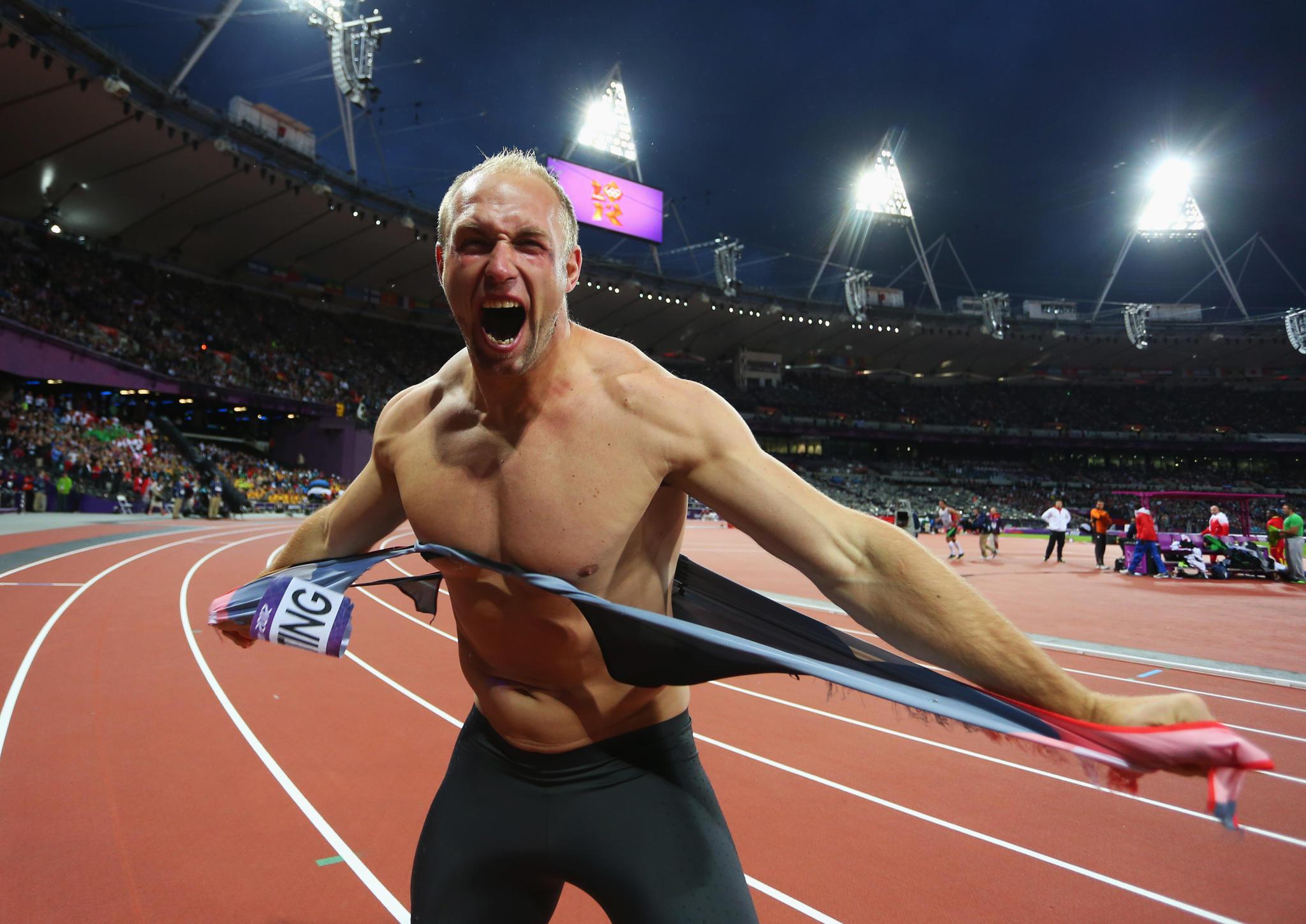 Robert Harting bei seinem Olympiasieg 2012 in London